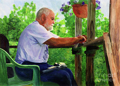John Cleaning The Rifle Art Print by Donna Walsh