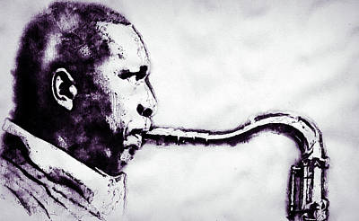 Musicians Drawings - John Coltrane - 01 by AM FineArtPrints
