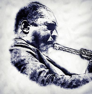 Musicians Drawings - John Coltrane - 07 by AM FineArtPrints