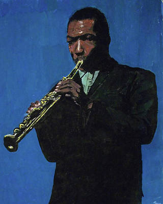 Painting - John Coltrane - Blue by David Bromley
