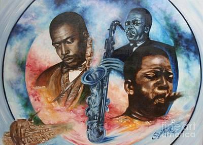 Painting - Blaa Kattproduksjoner     John Coltrane - Jazzed  by Sigrid Tune
