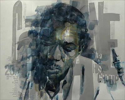 Blue Mixed Media - John Coltrane  by Paul Lovering
