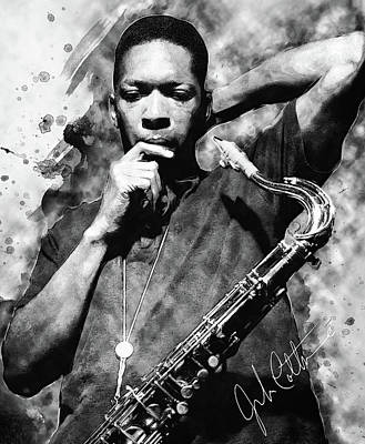 Digital Art - John Coltrane by Taylan Apukovska