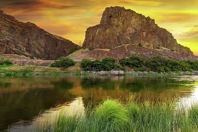Farmland Photograph - John Day River At Sunrise by David Gn