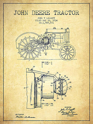 Old Farm Drawing - John Deere Tractor Patent Drawing From 1934 - Vintage by Aged Pixel