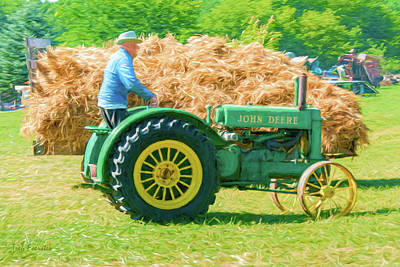 Photograph - John Deere And Hay Wagon by Trey Foerster
