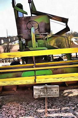 Mixed Media - John Deere Combine 2 by Angelina Vick