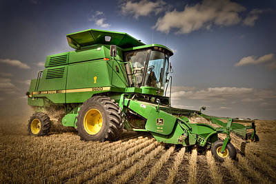 Combine Harvester Photograph - John Deere Combine by Matt Dobson