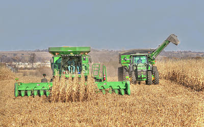 Photograph - John Deere Combine Picking Corn Followed By Tractor And Grain Cart by J Laughlin