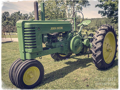Vermont Photograph - John Deere Green Tractor Vintage Style by Edward Fielding