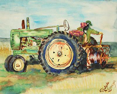 Steam Tractor Painting - John Deere Model A  by Nichole Lorenzen