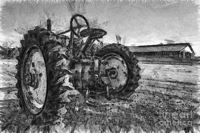 Monochromatic Digital Art - John Deere Pencil Drawing by Edward Fielding