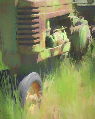 Digital Art - John Deere Tractor Close Up Painterly by David King