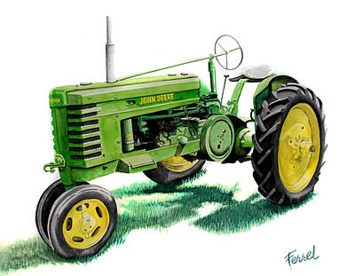 John Deere Wall Art - Painting - John Deere Tractor by Ferrel Cordle