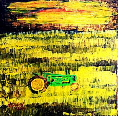 Photograph - John Deere Tractor Outstanding In Its Wheat Field by Richard W Linford