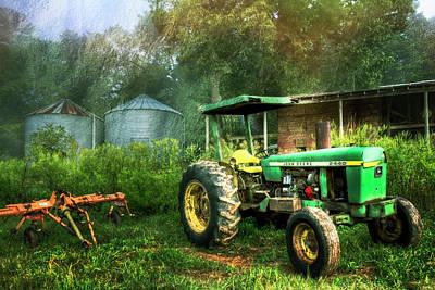 Photograph - John Deere Tractor Painting by Debra and Dave Vanderlaan