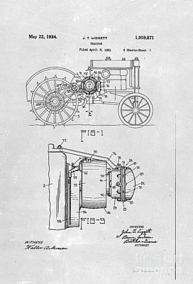 Digital Art - John Deere Tractor Patent 1934 by John Stephens