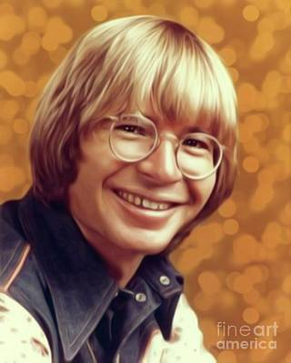 Musicians Digital Art Rights Managed Images - John Denver, Music Legend Royalty-Free Image by Esoterica Art Agency