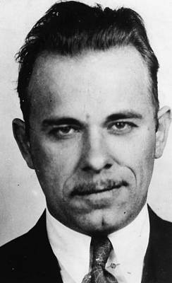 Bank Robber Painting - John Dillinger Mug Shot Black And White by Tony Rubino