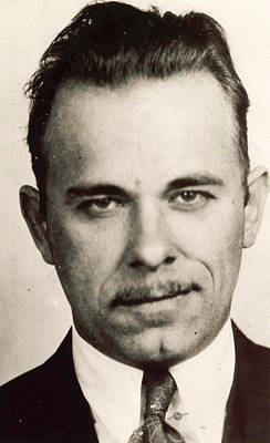 Bank Robber Painting - John Dillinger Mug Shot Sepia by Tony Rubino