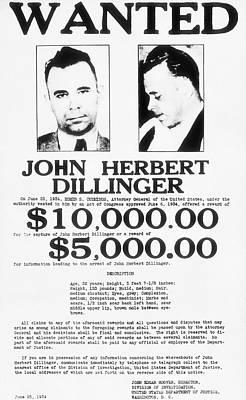 John Dillinger Wanted Poster 1934  Art Print by F B I