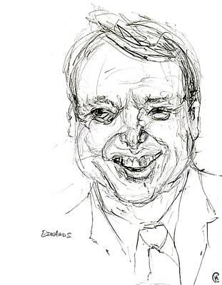 Caricature Drawing - John Edwards by Cameron Hampton PSA