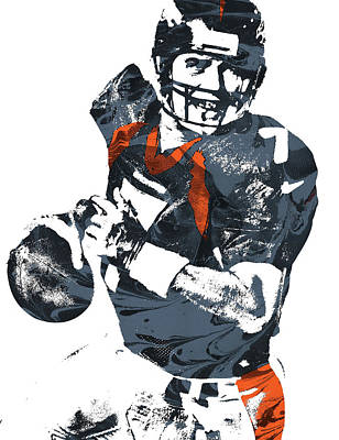 John Denver Mixed Media - John Elway Denver Broncos Pixel Art by Joe Hamilton