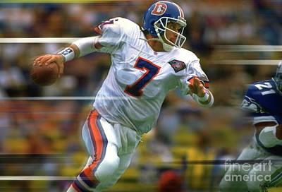Stanford Mixed Media - John Elway, Number 7, Quarterback, Denver Broncos by Thomas Pollart
