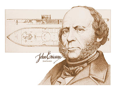 Drawing - John Ericsson by John D Benson