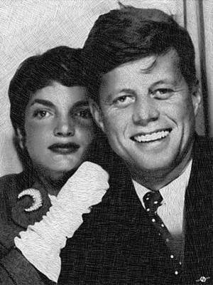 Politicians Drawings - John F Kennedy And Jackie by Tony Rubino