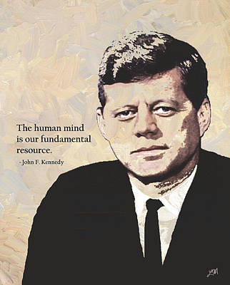 John F. Kennedy And Quote Art Print