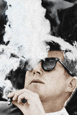 Dallas Drawing - John F Kennedy Cigar And Sunglasses 2 Large by Tony Rubino