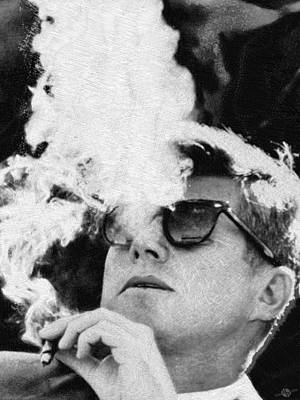 John F Kennedy Cigar And Sunglasses Black And White Original