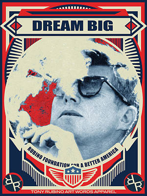 Painting - John F Kennedy Cigar And Sunglasses Rise Poster by Tony Rubino