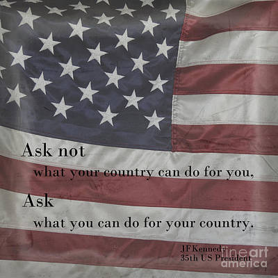 Photograph - John F Kennedy Quote On American Flag by Ella Kaye Dickey