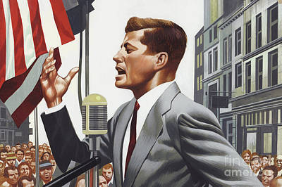 Painting - John F Kennedy Speaking. by Ron Embleton