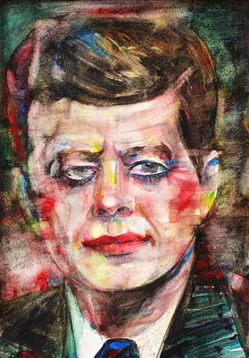 Painting - John F. Kennedy - Watercolor Portrait.3 by Fabrizio Cassetta