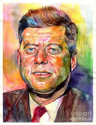 Harvard Wall Art - Painting - John F. Kennedy Watercolor by Suzann's Art