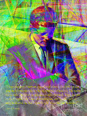 Photograph - John Fitzgerald Kennedy Jfk In Abstract 20130610v2 Text by Wingsdomain Art and Photography