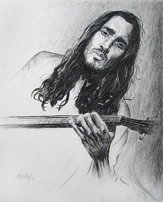 Musician Drawing - John Frusciante 1 by Michael Morgan