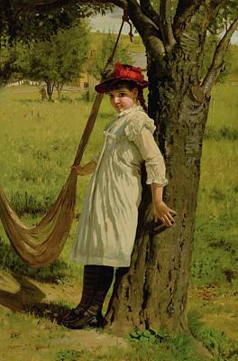 Beaches Painting - John George Brown 1831 - 1913 Give Me A Swing by Artistic Rifki