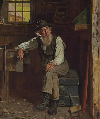 Old Barn Painting - John George Brown Living In The Past 1896 by Movie Poster Prints