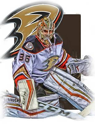 Mixed Media - John Gibson Anaheim Ducks Oil Art by Joe Hamilton