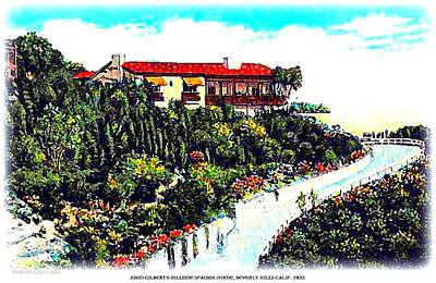 Beverly Hills Mixed Media - John Gilbert's Home In Beverly Hills In 1932 by Dwight Goss