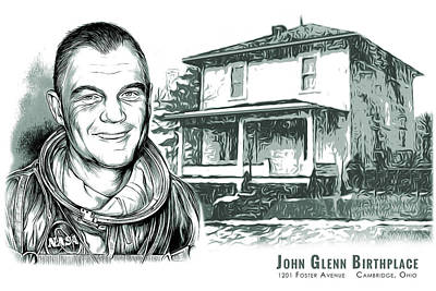 Mixed Media Rights Managed Images - John Glenn Birthplace BW Royalty-Free Image by Greg Joens