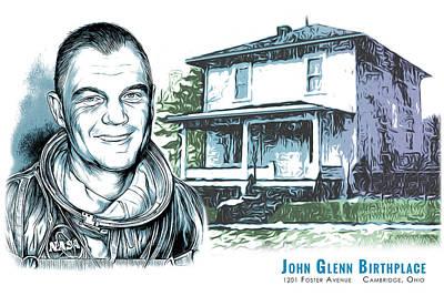 Astronauts Drawing - John Glenn Birthplace by Greg Joens