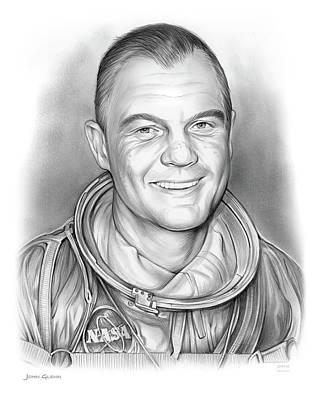 Astronauts Drawing - John Glenn - Bw by Greg Joens