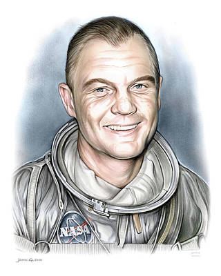 Astronauts Drawing - John Glenn by Greg Joens