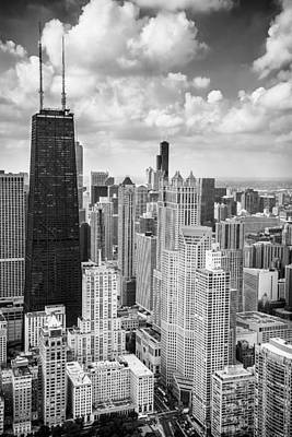 Willis Tower Photograph - John Hancock Building In The Gold Coast Black And White by Adam Romanowicz