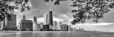 John Hancock Chicago Skyline Panorama Black And White Print by Christopher Arndt